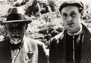 Luigi Pirandello e Fausto (a des.) ad Anticoli 1936