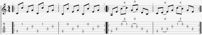 tablature arpège médiator facile apprendre guitare exemple jouer