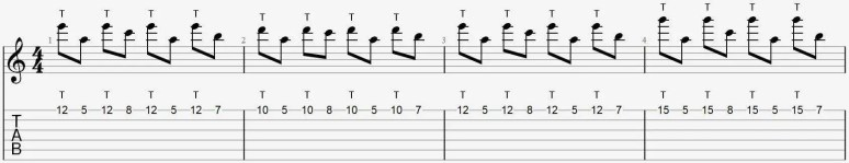 Tappin débutant exercice facile guitare cours tablature tuto leçon