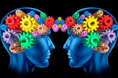 graphic depiction of two people thinking, with cogs in the place of brains