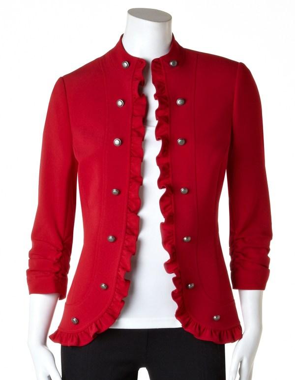Winter Red Ruffle Military Blazer Cleo