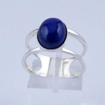 Bague Argent Double Anneau et Lapis Lazuli