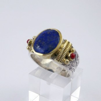 Bague Moyenne Lapis Lazuli  et Corail