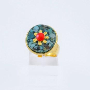 Bague Turquoise et Fleur Dorée