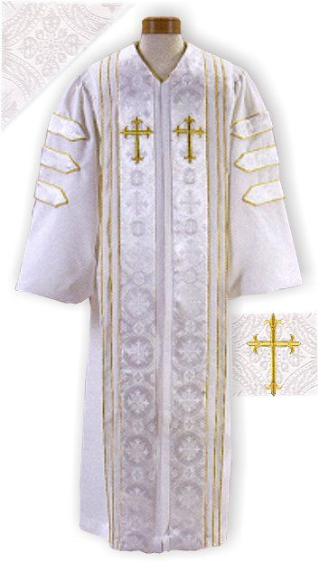 White Brocade Clergy Robes with Gold Trim  White Minister