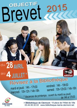 BIBLIOTHEQUE-OBJECTIF-BREVET-2015-AFFICHE-CLERMONT-OISE