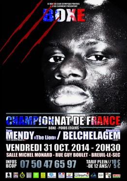 Championnat de France de Boxe : Yann Mendy contre Aboubeker Bechelaghem, vendredi 31 octobre 2014 - Clermont (Oise)