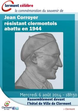 Commémoration du souvenir de Jean Corroyer résistant clermontois abattu en 1944, mercredi 6 août 2014 - Clermont (Oise)