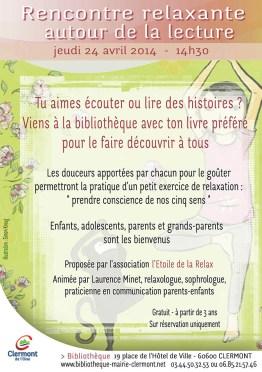 Rencontre relaxante autour de la lecture, jeudi 24 avril 2014 - Clermont Oise