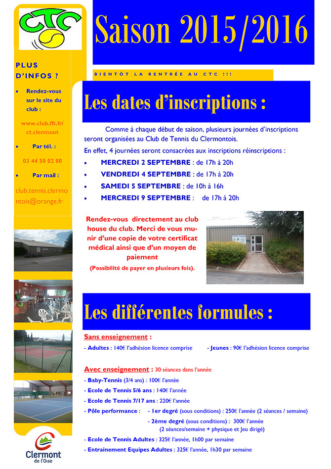 CTC - Club Tennis Clermont - Inscriptions saison 2015-2016 - Clermont Oise