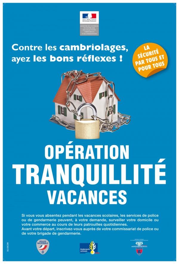 """Sécurité : Pensez à l'opération """"tranquillité vacances"""" - Clermont Oise"""