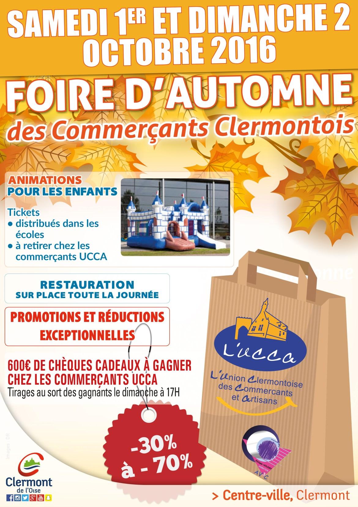 Foire d'Automne 2016 de l'Union Clermontoise des Commerçants et Artisans, samedi 1er et dimanche 2 octobre 2016