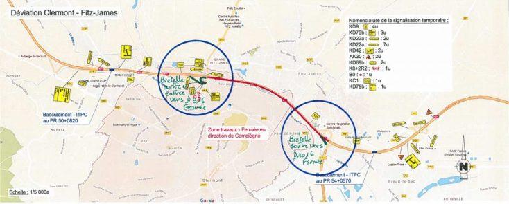 Des travaux de réfection de chaussée sont à prévoir sur la RN31, dans le sens de circulation Beauvais vers Compiègne, sur le territoire des Communes de Clermont et Fitz-James.