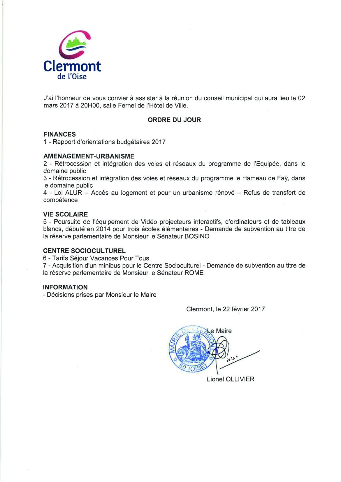 Conseil Municipal - jeudi 2 mars 2017 - Ordre du jour