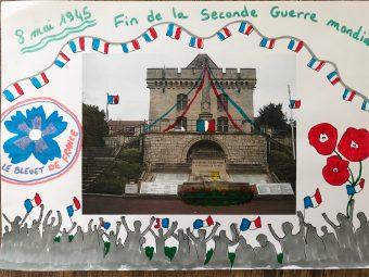 Dessins réalisés par le Conseil Municipal Enfants CME de Clermont pour la commémoration de la victoire de 1945.