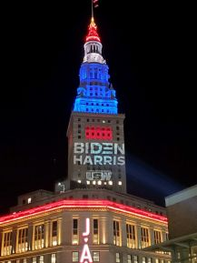 """Terminal Tower owner demands United Steelworkers stop using """"Biden Harris"""" light display on building - cleveland.com"""