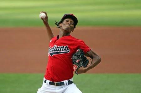 Cleveland Indians start pitcher Tristan McKenzie pitches