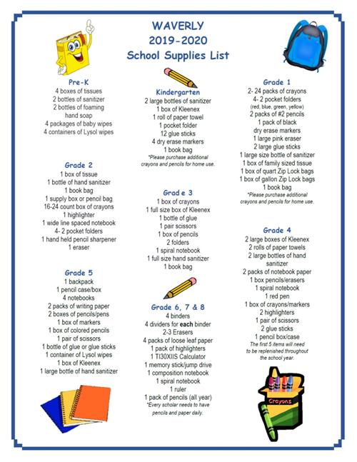 2019 2020 School Supply List School Supply List