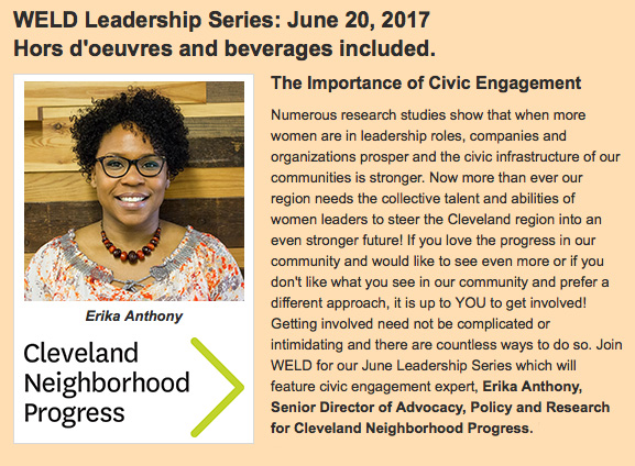 WELD Leadership Series: The Importance of Civic Engagement @ Terminal Tower Observation Deck | Cleveland | Ohio | United States