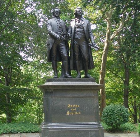 German Cultural Garden  Goethe and Schiller statue