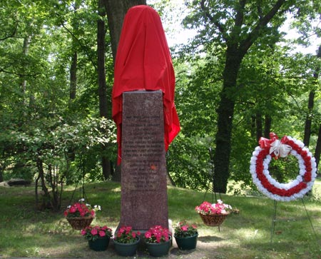 Madame Curie statue covered before rededicaion - Polish Garden