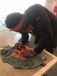 Cleveland Browns Miles Garrett signing jersey