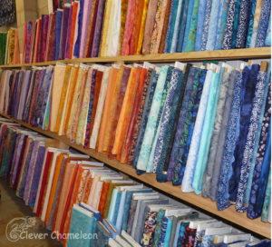 Fabric bolts on a shelf