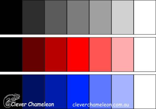 Colour value graduations in black, red and blue.