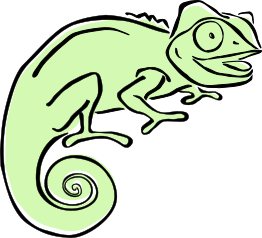 Clever Chameleon logo in light green