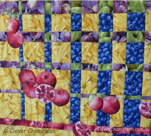 Pomegranates and Peaches quilt showing scale and form contrast