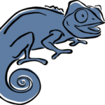 blue clever chameleon logo