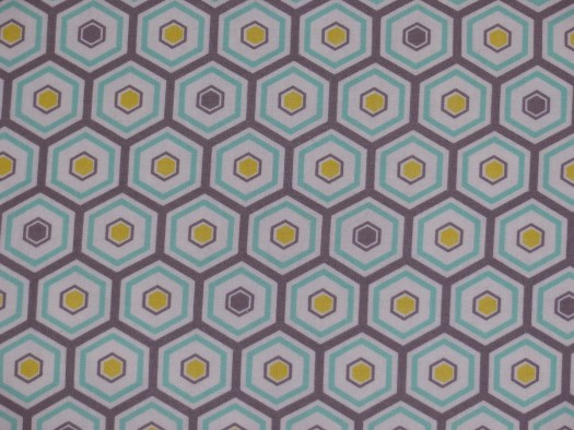 hexagon fabric in yellow and greyed-green