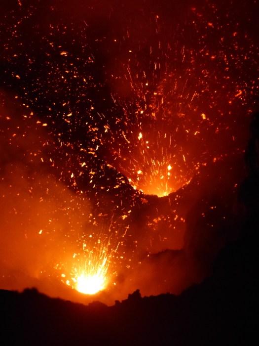 Mt Yasur volcano after dark