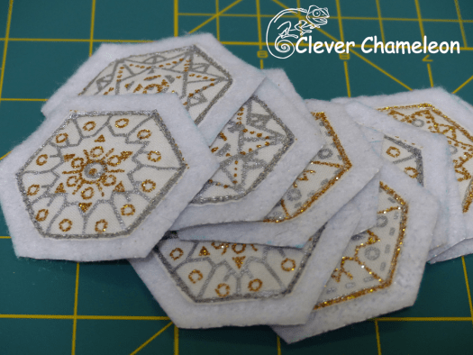 Cut hexies for Drum Ornament - with borders