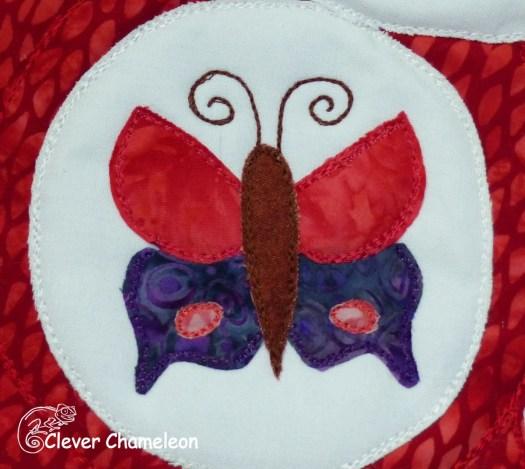 Red Bear butterfly tummy motif