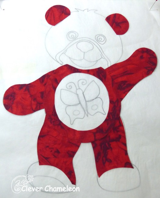 Tummy added to red bear appliqué
