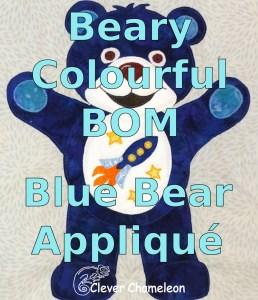 Blue bear applique pattern