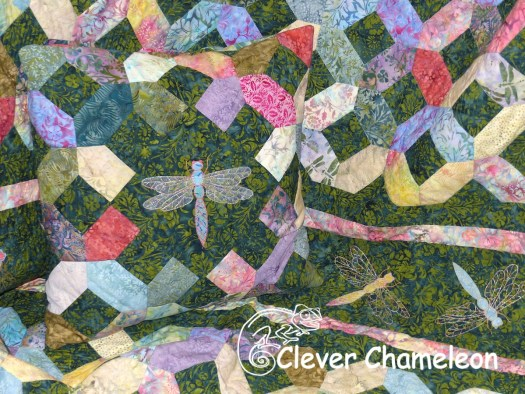 Dragonfly quilt and pillow set by Dione of Clever Chameleon