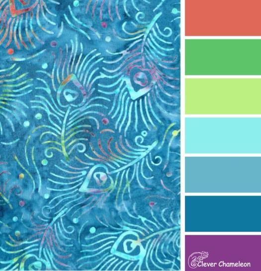 Peacock Feather Batik color scheme at Clever Chameleon