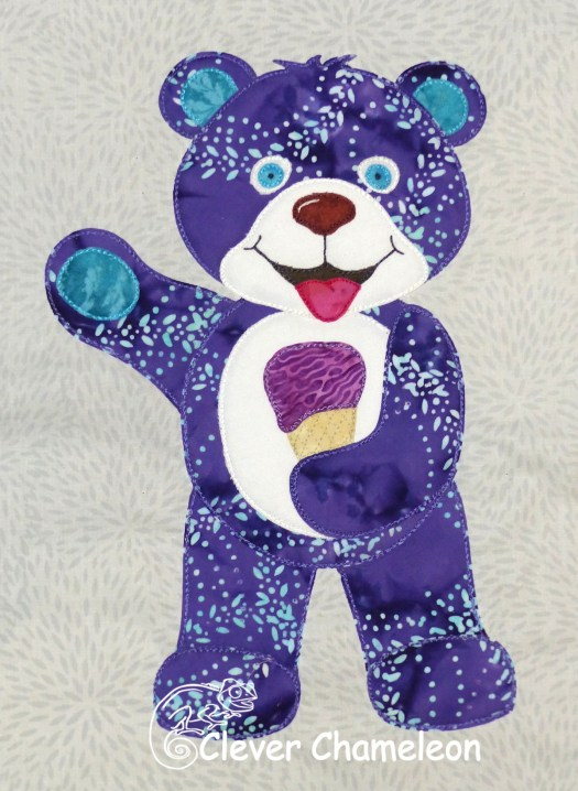Blue-Violet Bear of Special Treats appliqué by Clever Chameleon