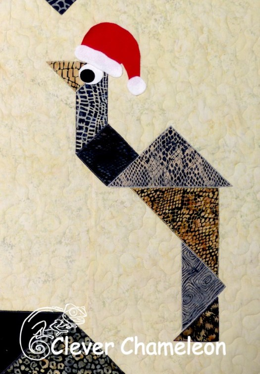 Christmas Emu appliqué by Dione of Clever Chameleon Quilting