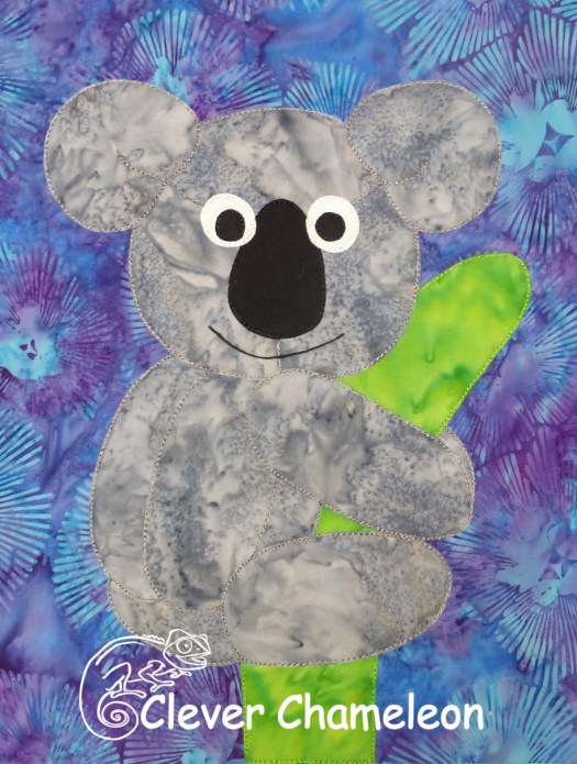 Kuddly Koala appliqué for the Love with a Twist series by Dione Gardner-Stephen of Clever Chameleon