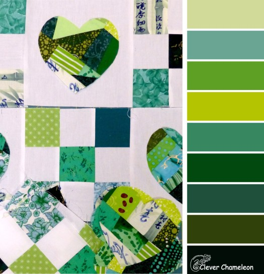 Green patchwork colours at Clever Chameleon