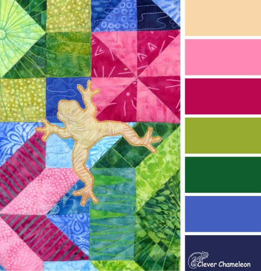 Pond Life quilt colour board from Clever Chameleon