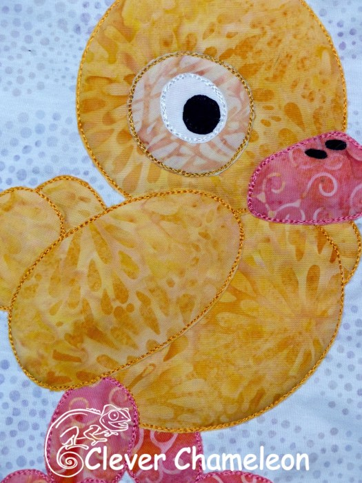 Qwazy Quacker Duck appliqué from the Love with a Twist series by Dione Gardner-Stephen of Clever Chameleon