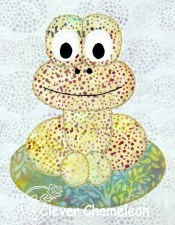 Jolly Jumper balloon frog appliqué pattern by Dione Gardner-Stephen at Clever Chameleon