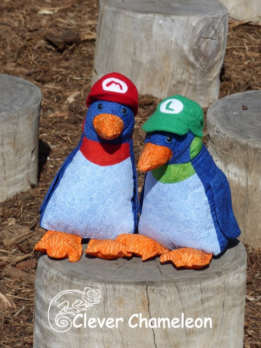 Mario and Luigi themed penguin toys