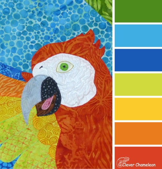 Scarlet Macaw colour board at Clever Chameleon Quilting