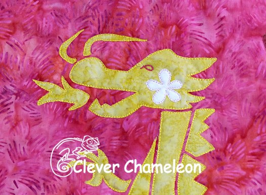 Dragon appliqué at Clever Chameleon