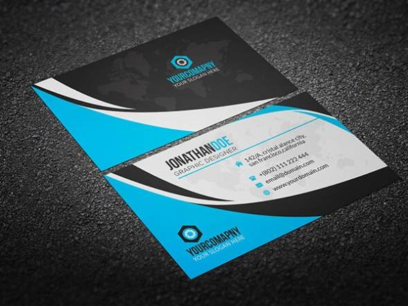 75 free business card templates that are stunning beautiful 6 blue and white business card with world colourmoves